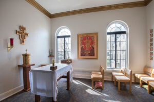The USF Business Center chapel is a quiet place for students and employees to participate in Sacred Time or have a small moment for reflection.