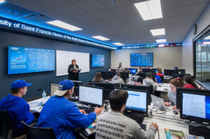 The Finance Lab with real-time market data on a constant ticker