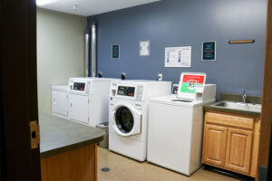 Free laundry facilities are provided for residential students on campus