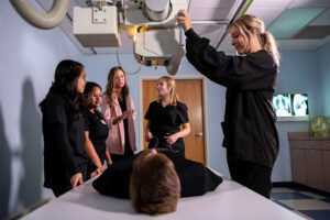 The radiologic technology lab has x-ray equipment students get hands-on training with