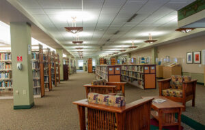 The Lee and Jim Vann Library spans two floors and offers views of Mirror Lake