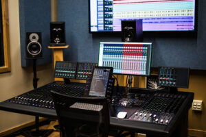 There are 12 mix and edit suites for students to work on group and individual projects