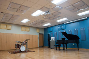 Ensemble has a Steinway piano that can be recorded via teh Dante digital protocol to any of the studios in the building.