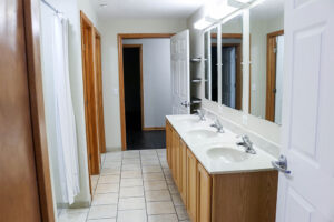 Multiple shower stalls are available in each apartment