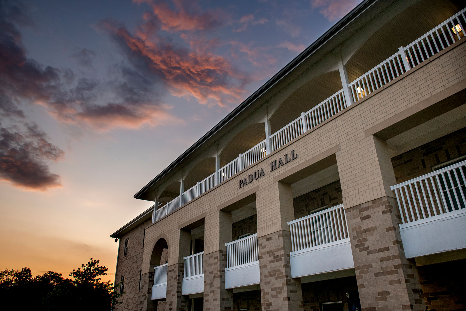 Situated on the west side of campus nestled around trees, Padua Hall offers apartment-style living for juniors and seniors.