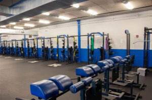 R. Bruce Dye Training Center weight room for the football team