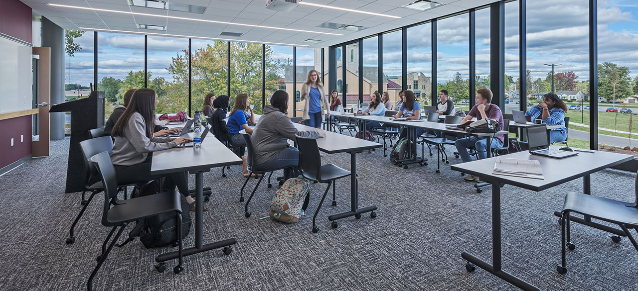 Students in a classroom in Achatz overlooking Mirror Lake