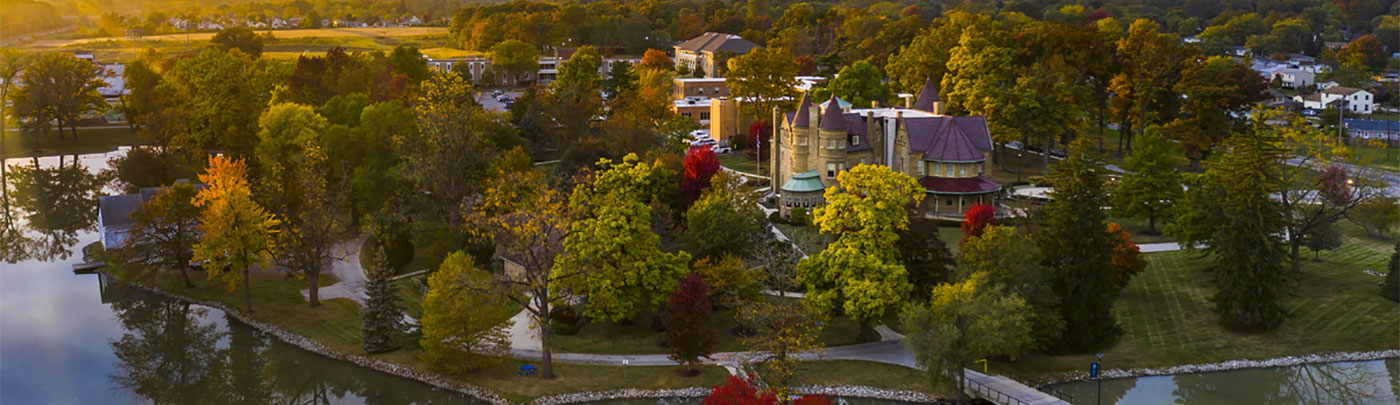 The western side of campus from the vantage point of a drone at sunset