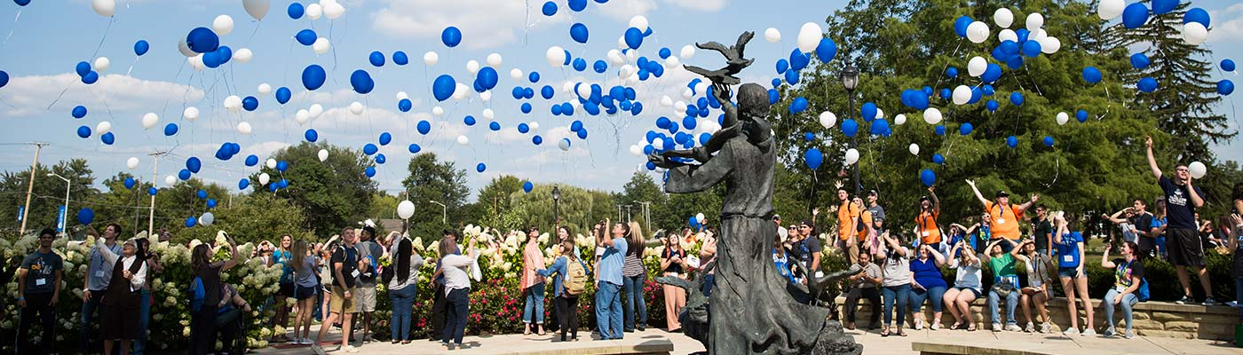 Welcome weekend ballon release in front of the Saint Francis Statue.