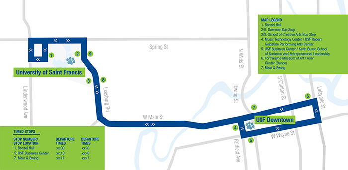 Map of the Cougar Express Bus Router